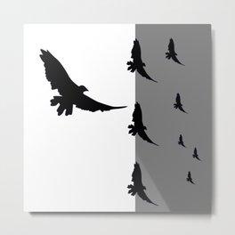 FLYING BLACK CROWS GREY-BLACK ART Metal Print