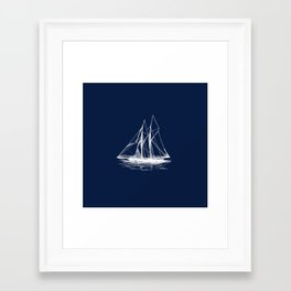 Sailboat Sailing Boat in White and Nautical Navy Blue Framed Art Print