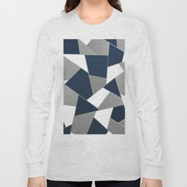 Navy Blue Gray White Mint Geometric Glam #1 #geo #decor #art #society6 Long Sleeve T-shirt