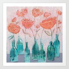 Blooms in Bottles  Art Print
