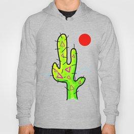 Funky Neon Cactus, Red Sun, 80s 90s style Hoody