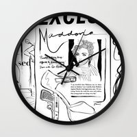 scandal Wall Clocks featuring Material Girl Scandal by CLSNYC