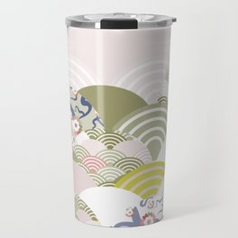scales simple Nature background with japanese sakura flower, rosy pink Cherry, wave circle pattern Travel Mug