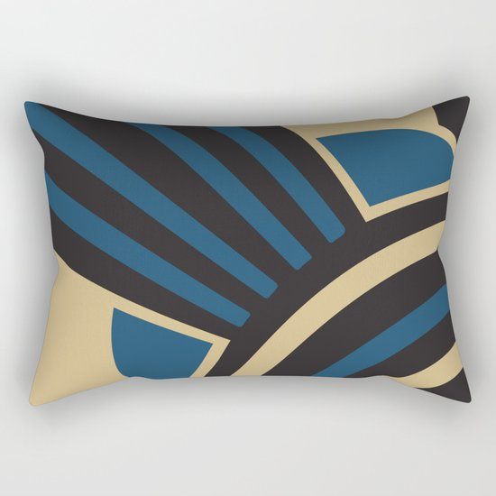 Art Deco Beautiful Life In Blue Rectangular Pillow