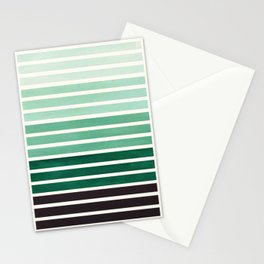 Watercolor Gouache Mid Century Modern Minimalist Colorful Deep Green Stripes Stationery Cards