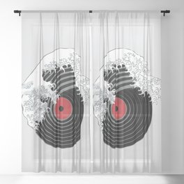 The Great Wave of Music DJ Vinyl Record Turntable Hokusai Sheer Curtain