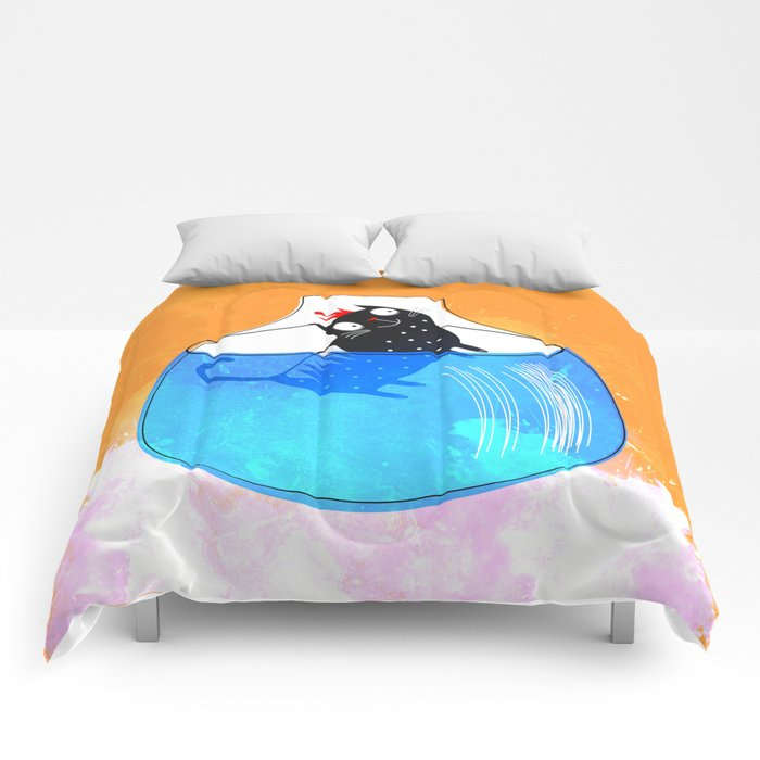 CAT IN A GOLDFISH BOWL Comforters