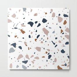Navy, Mustard, Dusty Pink Terrazzo Pattern Metal Print
