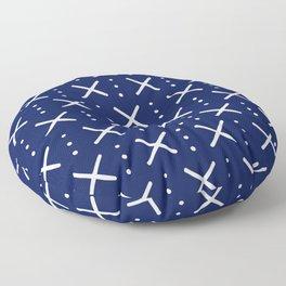 X Pattern on Navy Blue Floor Pillow