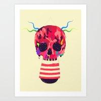 RED RED RED Cranium Art Print