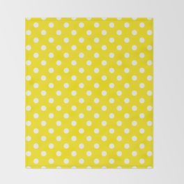 Polka Dot Yellow And White Throw Blanket