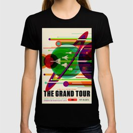 NASA Outer Space Saturn Shuttle Retro Poster Futuristic Explorer T-shirt