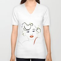 marylin monroe V-neck T-shirts featuring Out with Marylin by Irène Sneddon