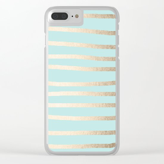 Simply Drawn Stripes White Gold Sands on Succulent Blue Clear iPhone Case