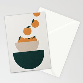 Abstract kitchen oranges in bowl Stationery Cards