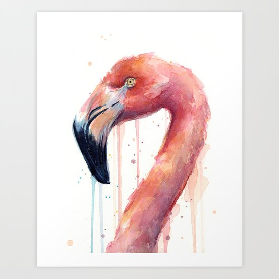 Flamingo Art Watercolor Art Print