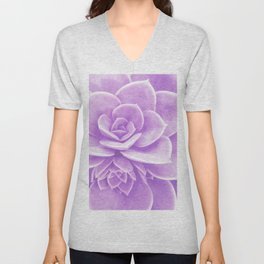 Purple Succulent Reflection Unisex V-Neck