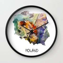 Map of Poland watercolor Wall Clock