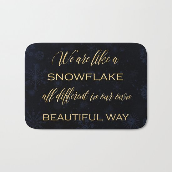 We are like a snowflake - gold glitter Typography on dark background Bath Mat