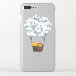 Hot cloud balloon - sun and rainbow Clear iPhone Case