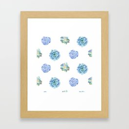 Bue and gren succulents pattern Framed Art Print