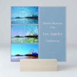 Square Blue Santa Monica Pier Collage Mini Art Print