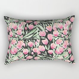 Artsy Pink Green Black Tulips Floral Watercolor Rectangular Pillow