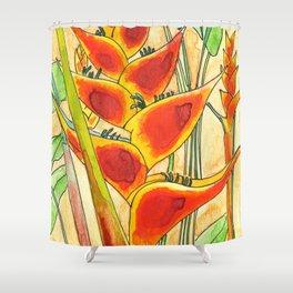 Caribbean flower, heliconia wagneria, Madinina Island Shower Curtain