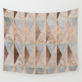 Copper Foil and Blush Rose Gold Marble Triangles Argyle Wall Tapestry