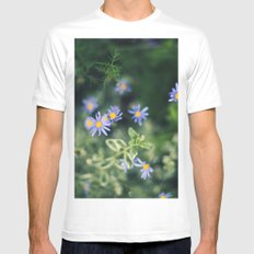Blue and Yellow Flowers MEDIUM White Mens Fitted Tee