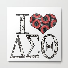 Retro Red and black and tribal print I love DST Design Metal Print