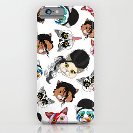Pop Cats - Pattern on White iPhone Case