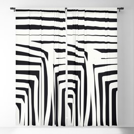 Black and white abstract cube Blackout Curtain