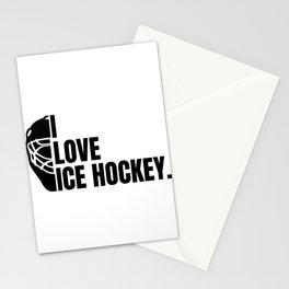 I love ice hockey ice hockey sport puck gift Stationery Cards