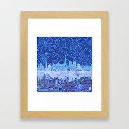 Paris skyline abstract blue 2 Framed Art Print