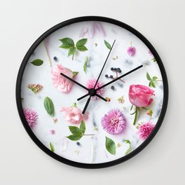 Pink Flower Layout Wall Clock
