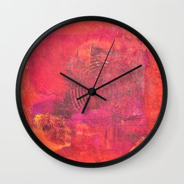 Original Textured Painting Orange and Red Wall Clock