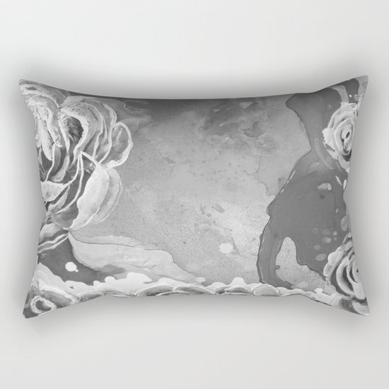 Mad Lucy's Golden Roses. Yellow Roses and Galaxy Blue in Black and White Shadow Rectangular Pillow