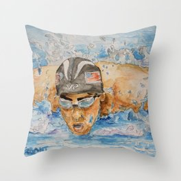 Michael Phelps Swimmer Throw Pillow