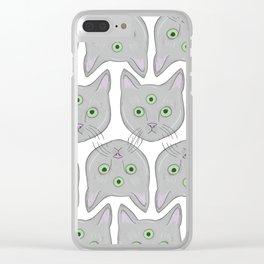 Cat Pattern Clear iPhone Case