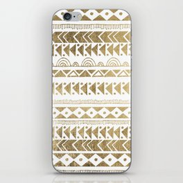 Boho Ethnic faux gold white aztec elegant geometrical iPhone Skin