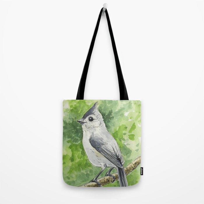Titmouse bird watercolor Tote Bag