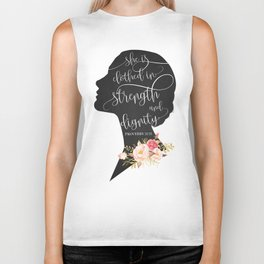 She is Clothed in Strength and Dignity Biker Tank