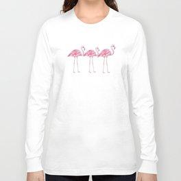 Flamingo - Pink Bird - Animal On White Background Long Sleeve T-shirt