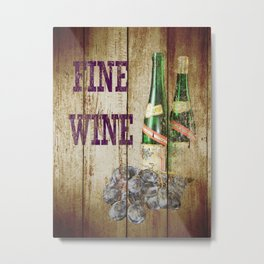 Rustic Fine Wine Kitchen Art Country Bistro Still Life A300 Metal Print