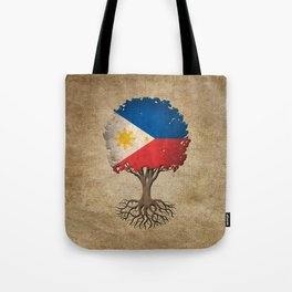 Vintage Tree of Life with Flag of Philippines Tote Bag