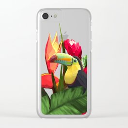 Toucan Tropical Banana Leaves Bouquet Clear iPhone Case