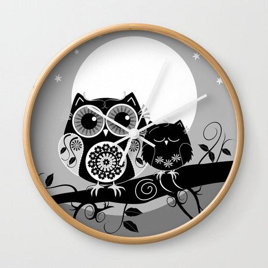 B&W Flower power Owl and her Sleepy Baby Wall Clock