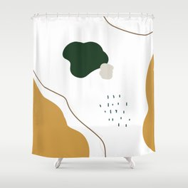 Mid Century Modern Print Set. Abstract Shapes Prints Set. Modern Art Set. Abstract Art Set. Olive Gr Shower Curtain