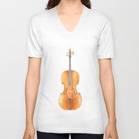 cello V-neck T-shirts featuring Cello - Watercolors by Florent Bodart / Speakerine